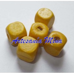 Cubo madera 10 x 9 mm amarillo