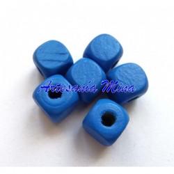 Cubo madera azul 10 x 9 mm