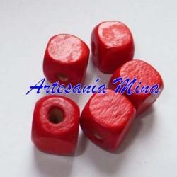 Cubo madera rojo 10 x 9 mm