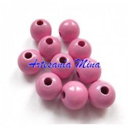 Bola madera 8 mm rosa