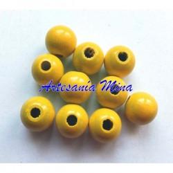 Bola de madera 8 mm amarilla