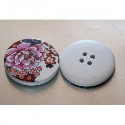 Botón madera 30 mm flores