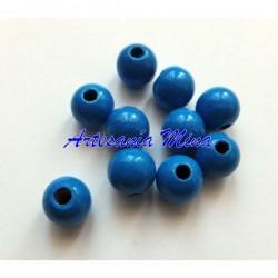 Bola madera 8 mm azul medio