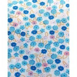 Tela flores azules/lilas...