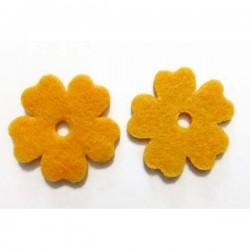 Flor fieltro 33 mm. amarilla