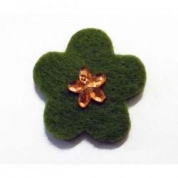 Fieltro flor 27 mm. verde
