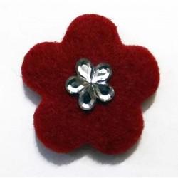 Fieltro flor 27 mm. roja