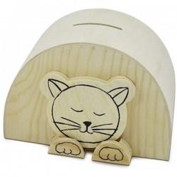 Hucha de madera gato 11,5 x...