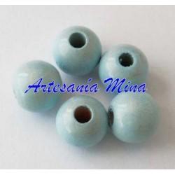 Bola madera 10 mm azul pastel