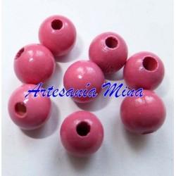Bola madera 10 mm rosa medio
