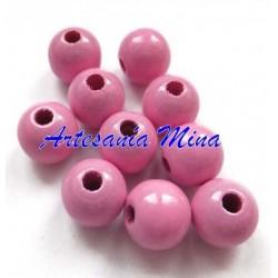 Bola de madera 10 mm rosa