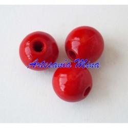 Bola madera 10 mm rojo