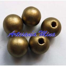 Bola madera 10 mm dorada