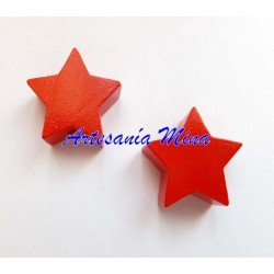 Estrella de madera roja...