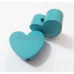 Corazón de madera turquesa...