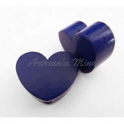 Corazón de madera azul...