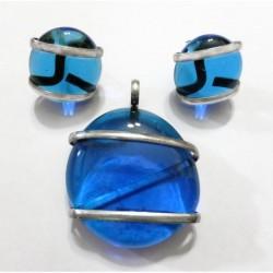 Juego vidrio soplado azul