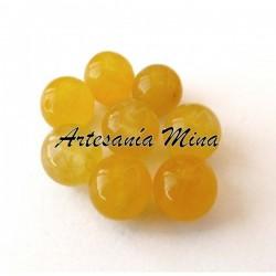 Cuenta Ágata amarilla 8 mm