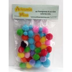 Pompón colores mix 8-20 mm...