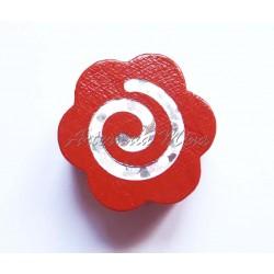 Flor madera 19 mm roja...