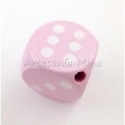 Dado de madera 16 mm rosa...