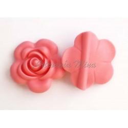 Flor de silicona 40 mm rosa